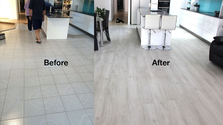 Before - after Ivory Oak acoustic luxfeel